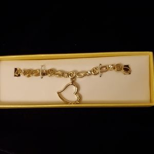 💗3/$15💗Heart Charm Tennis Bracelet, goldtone NIB